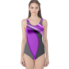 Purple Elegant Lines One Piece Swimsuit by Valentinaart