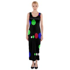 Colorful Dots Fitted Maxi Dress by Valentinaart