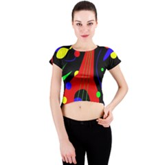 Abstract Guitar  Crew Neck Crop Top by Valentinaart