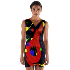 Abstract Guitar  Wrap Front Bodycon Dress by Valentinaart