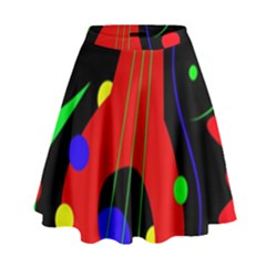 Abstract Guitar  High Waist Skirt by Valentinaart