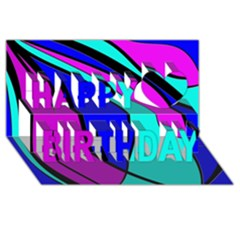 Purple And Blue Happy Birthday 3d Greeting Card (8x4)  by Valentinaart