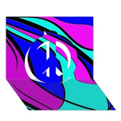 Purple And Blue Peace Sign 3d Greeting Card (7x5)  by Valentinaart
