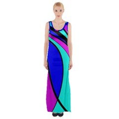 Purple And Blue Maxi Thigh Split Dress by Valentinaart