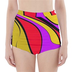 Colorful Lines High-waisted Bikini Bottoms by Valentinaart