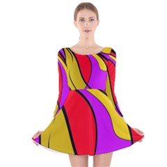 Colorful Lines Long Sleeve Velvet Skater Dress by Valentinaart