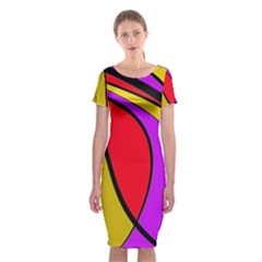 Colorful Lines Classic Short Sleeve Midi Dress by Valentinaart