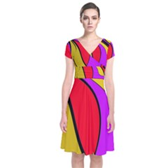 Colorful Lines Short Sleeve Front Wrap Dress by Valentinaart