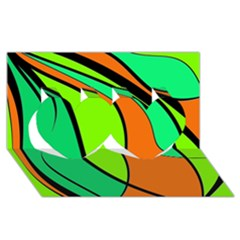 Green And Orange Twin Hearts 3d Greeting Card (8x4)