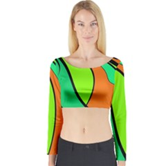 Green And Orange Long Sleeve Crop Top by Valentinaart