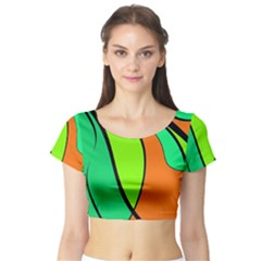 Green And Orange Short Sleeve Crop Top (tight Fit) by Valentinaart