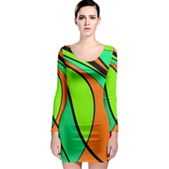 Green And Orange Long Sleeve Bodycon Dress by Valentinaart