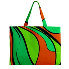 Green And Orange Zipper Mini Tote Bag by Valentinaart