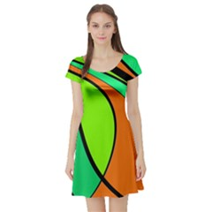Green And Orange Short Sleeve Skater Dress by Valentinaart