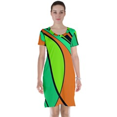 Green And Orange Short Sleeve Nightdress by Valentinaart