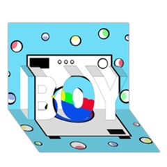 Washing Machine  Boy 3d Greeting Card (7x5) by Valentinaart