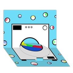 Washing Machine  Circle Bottom 3d Greeting Card (7x5)  by Valentinaart
