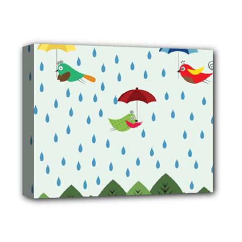 Birds In The Rain Deluxe Canvas 14  X 11  by justynapszczolka