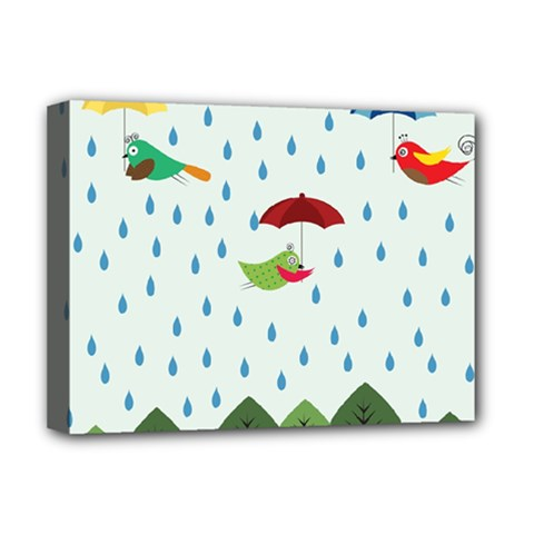 Birds In The Rain Deluxe Canvas 16  X 12   by justynapszczolka