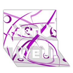 Purple Elegant Design Get Well 3d Greeting Card (7x5)  by Valentinaart