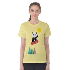 Panda On A Skateboard Women s Cotton Tee by Contest2490439