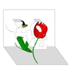 Red Tulip And Bee Love 3d Greeting Card (7x5)