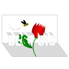 Red Tulip And Bee Best Sis 3d Greeting Card (8x4)  by Valentinaart