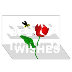 Red Tulip And Bee Best Wish 3d Greeting Card (8x4)  by Valentinaart