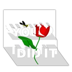 Red Tulip And Bee You Did It 3d Greeting Card (7x5) by Valentinaart