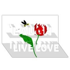 Red Tulip And Bee Laugh Live Love 3d Greeting Card (8x4)  by Valentinaart