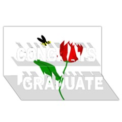 Red Tulip And Bee Congrats Graduate 3d Greeting Card (8x4)