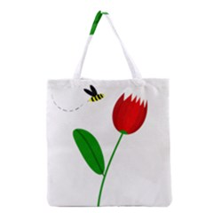 Red Tulip And Bee Grocery Tote Bag by Valentinaart