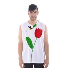 Red Tulip And Bee Men s Basketball Tank Top by Valentinaart