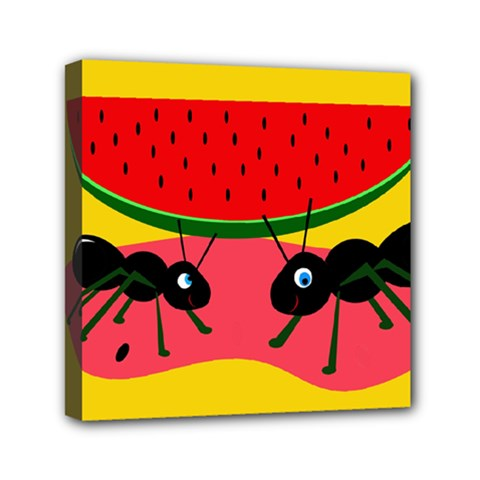Ants And Watermelon  Mini Canvas 6  X 6  by Valentinaart