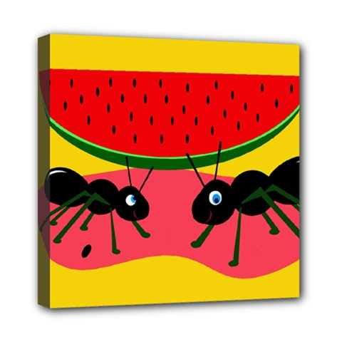Ants And Watermelon  Mini Canvas 8  X 8  by Valentinaart