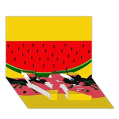 Ants And Watermelon  Love Bottom 3d Greeting Card (7x5)  by Valentinaart