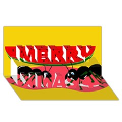 Ants And Watermelon  Merry Xmas 3d Greeting Card (8x4)