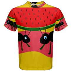 Ants And Watermelon  Men s Cotton Tee by Valentinaart