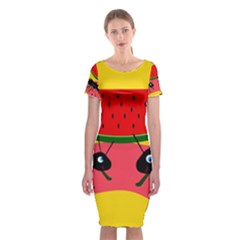 Ants And Watermelon  Classic Short Sleeve Midi Dress by Valentinaart