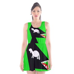 Wolf And Sheep Scoop Neck Skater Dress by Valentinaart