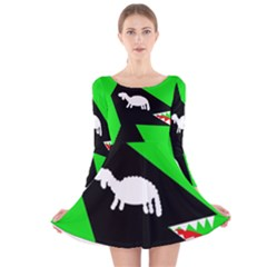 Wolf And Sheep Long Sleeve Velvet Skater Dress by Valentinaart