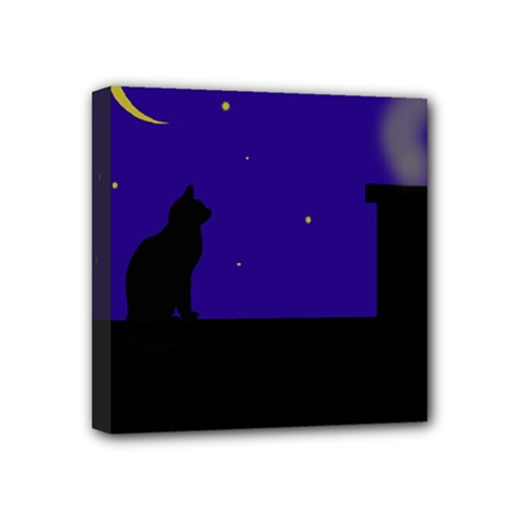 Cat On The Roof  Mini Canvas 4  X 4  by Valentinaart