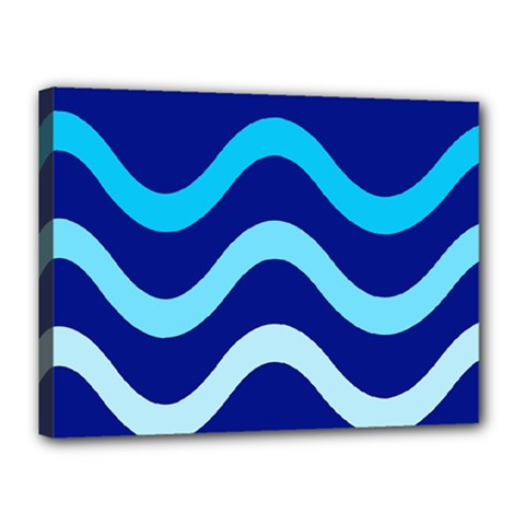 Blue Waves  Canvas 16  X 12  by Valentinaart