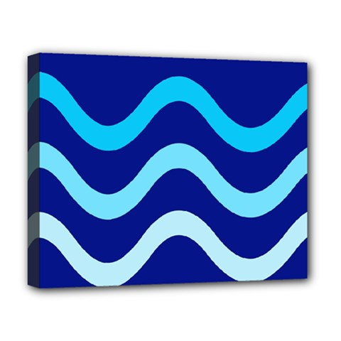 Blue Waves  Deluxe Canvas 20  X 16   by Valentinaart