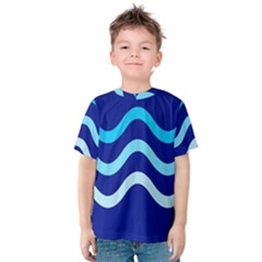 Blue Waves  Kid s Cotton Tee by Valentinaart