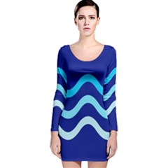 Blue Waves  Long Sleeve Velvet Bodycon Dress by Valentinaart