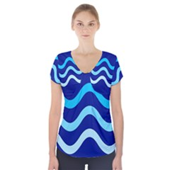 Blue Waves  Short Sleeve Front Detail Top by Valentinaart