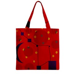 Red Abstract Sky Zipper Grocery Tote Bag by Valentinaart