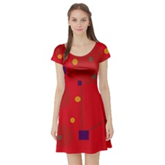 Red Abstract Sky Short Sleeve Skater Dress by Valentinaart
