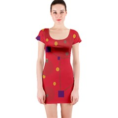 Red Abstract Sky Short Sleeve Bodycon Dress by Valentinaart